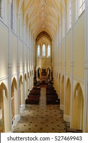 Kutna Hora, Czech Republic - May 9, 2012: Nave of the Cathedral of Assumption of Our Lady and Saint John the Baptist. Church is UNESCO World Heritage Site