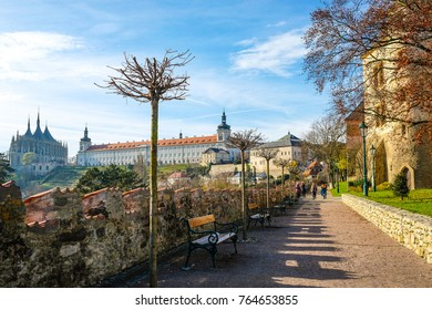 Kutna Hora, Czech Republic - Nivember, 24, 2017: medieval castle in Kutna Nova with the view to St. Barbara cathidral in Kutna Hora