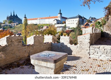 KUTNA HORA, CZECH REPUBLIC - NOVEMBER 1, 2015:  gothic cathedral of St. Barbara, Silver castle Hradek and Jesuit college, Central Bohemia, Kutna Hora, Czech republic. UNESCO World Heritage Site