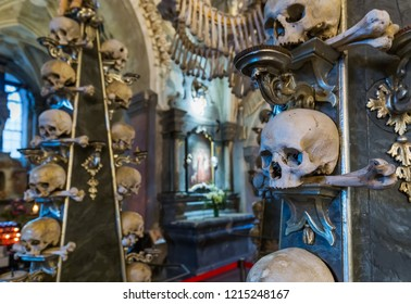 Kutna Hora, Czech Republic - October 22, 2017: Interior of Kostnice Church in Kutna Hora.
