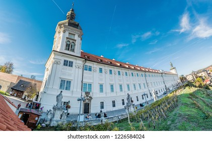 KUTNA HORA, CZECH REPUBLIC – OCTOBER 31, 2018: Jesuit College in Kutna Hora, Czech republic. Panoramic photo. Travel destination. Illustrative editorial.