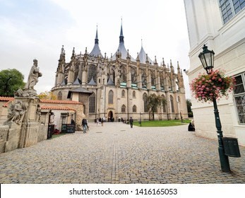 KUTNA HORA, CZECH REPUBLIC - OCTOBER 25, 2018: St. Barbara's church is a Roman catholic church in Kutna Hora, Czech Republic.  It is one of the most famous Gothic churches in central Europe.