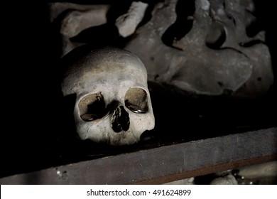 KUTNA HORA, CZECH REPUBLIC - SEP 3, 2016 - Skulls and bones in the Bone Church ossuary,  Kutna Hora, Czech Republic