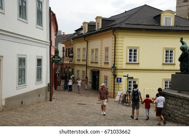 KUTNA HORA, CZECH REPUBLIC - SEP 3, 2016  - Baroque building fronts on narrow street of  Kutna Hora, Czech Republic
