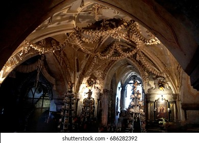 KUTNA HORA, CZECH REPUBLIC - SEP 3, 2016 - Skulls and bones in the Bone Church ossuary,  Kutna Hora, Czech Republic