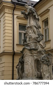 KUTNA HORA, CZECH REPUBLIC - SEP 3, 2016 - Statues of Jesuit saints at the Jesuit College,  Kutna Hora, Czech Republic