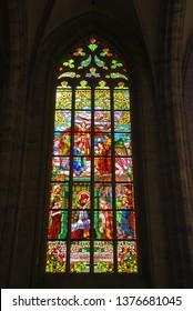 KUTNA HORA, CZECH REPUBLIC - SEPTEMBER 26, 2008: Amazing stained glass window in St. Barbara's Church, Kutna Hora