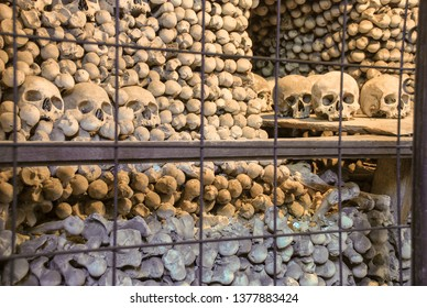 KUTNA HORA, CZECH REPUBLIC - SEPTEMBER 26, 2008: Human skulls and bones in Sedlec Ossuary (Kostnice ). Kutna Hora. Czech Republic