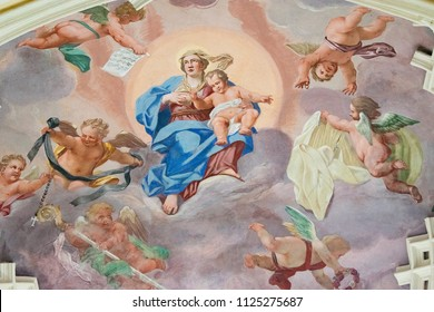 Kutna Hora, Prague - May 2018: frescoes on the ceiling of the cathedral Church of the Assumption of the Virgin Mary