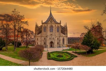 Kutna Hora with Saint Barbara's Church that is a UNESCO world heritage site, Czech Republic. - Shutterstock ID 1572064480