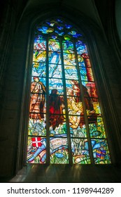 Kutna Hora/Czech Republic - 05.2018: colorfully painted window glass in the Catholic Church of St. Barbara