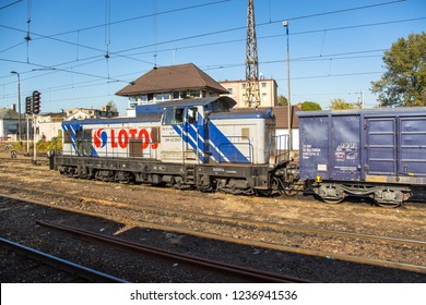 KUTNO, POLAND - October 15, 2018: Standing cargo train in Kutno, Poland.