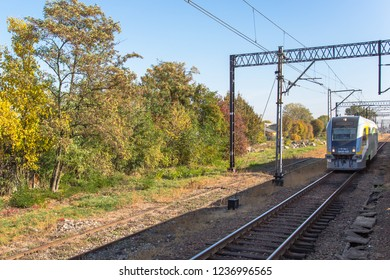 KUTNO, POLAND - October 15th 2018: Moving commuter train in Kutno