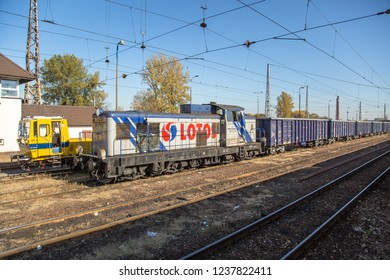 KUTNO, POLAND - October 2018: Standing cargo train in Kutno, Poland.