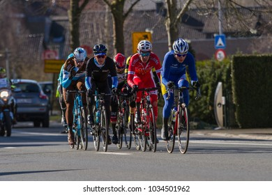 KUURNE, BELGIUM - FEBRUARY 25:  The Breakaway racing in Kuurne-Brussel-Kuurne on February 25th, 2018 in Belgium