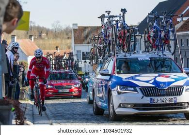 KUURNE, BELGIUM - FEBRUARY 25:  A Cofidis rider racing in Kuurne-Brussel-Kuurne on February 25th, 2018 in Belgium