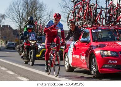 KUURNE, BELGIUM - FEBRUARY 25:  A Katusha Alpecin rider racing in Kuurne-Brussel-Kuurne on February 25th, 2018 in Belgium