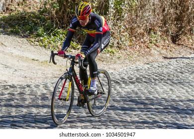 KUURNE, BELGIUM - FEBRUARY 25:  Oliver Naesen (BEL) racing in Kuurne-Brussel-Kuurne on February 25th, 2018 in Belgium