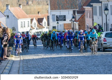 KUURNE, BELGIUM - FEBRUARY 25:  The Peleton racing in Kuurne-Brussel-Kuurne on February 25th, 2018 in Belgium