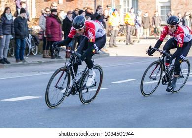 KUURNE, BELGIUM - FEBRUARY 25: Team Lotto Soudal racing in Kuurne-Brussel-Kuurne on February 25th, 2018 in Belgium