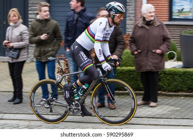 KUURNE, BELGIUM - FEBRUARY 26: Peter Sagan (SVK) of team Bora-Hansgrohe races to victory in his world champion kit at Kuurne-Brussel- Kuurne, Belgium on February 26 2017