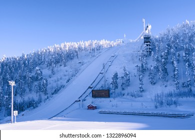 Kuusamo / Finland - February 2019:  The large ski jumping hill in Ruka on a beautiful and sunny day in February
