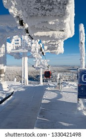 Kuusamo / Finland - February 2019: At the Saarua Top station of the new Doppelmayr/Garaventas gondola lift in the Ruka ski area on a beautiful and sunny day in February