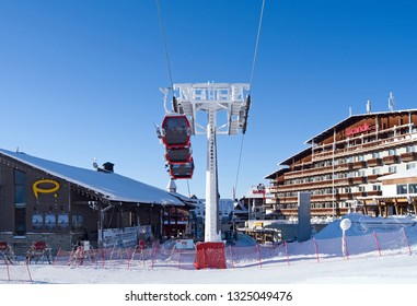 Kuusamo / Finland - February 2019: Valley station of the new gondola lift in Ruka Village on a beautiful and sunny day in February