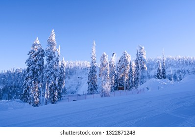 Kuusamo / Finland:  View over the Talvijarvi slope to the large ski jumping hill in Ruka on a beautiful and sunny day in February