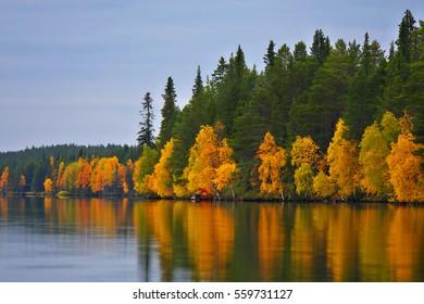 Kuusamo Lake in autumn colors, Northern Finland.