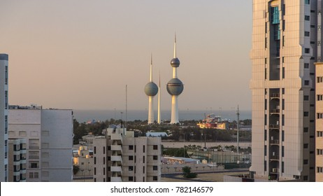 KUWAIT - CIRCA MARCH 2017: The Kuwait Towers - the best known landmark of Kuwait City. Kuwait, Middle East. View with gulf on background before sunset