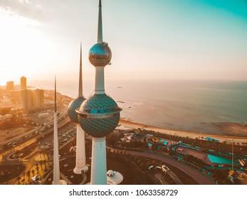 Kuwait City, 03 04 2018: Beautiful Kuwait Towers during Sunset