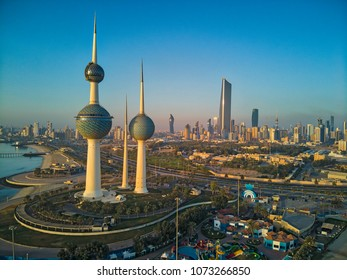 Kuwait City 04 15 2018: A Bright Morning Over the Majestic Kuwait Towers and Kuwait Skyline