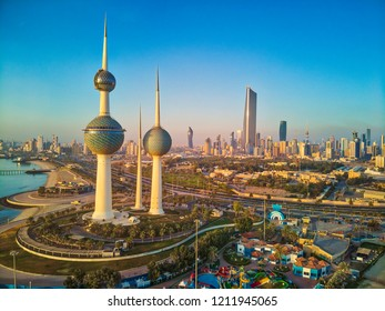 Kuwait City 10 21 2018: The Magnificent Kuwait Towers during Sunrise