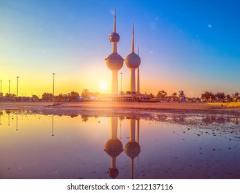 Kuwait City 10 21 2018: Beautiful Sunrise Over Kuwait Towers