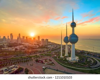 Kuwait City 10 22 2018: Beautiful Sunset Over the Kuwait Towers