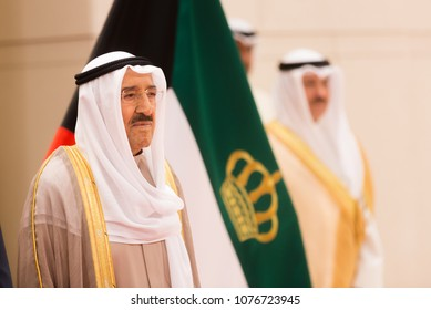 KUWAIT CITY, KUWAIT - 18 Mar 2018: Emir of the State of Kuwait and Commander of the Kuwait Military Forces Sabah Al-Ahmad Al-Jaber Al-Sabah during a meeting with president of Ukraine Petro Poroshenko
