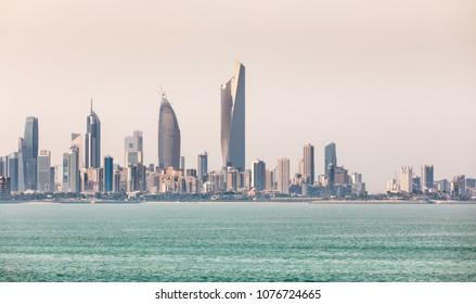 KUWAIT CITY, KUWAIT - 19 Mar 2018: Kuwait's coastline and skyline