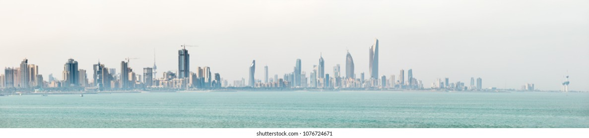 KUWAIT CITY, KUWAIT - 19 Mar 2018: Kuwait's coastline and skyline