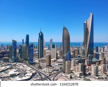 Kuwait City, Kuwait - August 2018 - The  Beautiful Concrete Skyscrapers Landscape Of Kuwait City Is Continuously Growing To New Soaring Heights