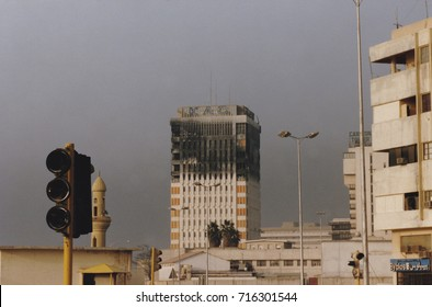Kuwait City, Kuwait - circa April 1991 : Burned shell of Kuwait AIrways headquarters  in Kuwait City following Operation Desert Storm in Persian Gulf War.