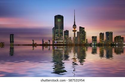 kuwait city during sunrise