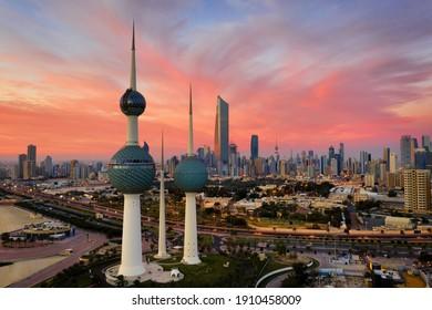 Kuwait City, Kuwait, January 22 2021, Amazing Kuwait Towers