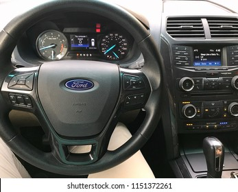 Kuwait City Kuwait July   Car Steering Wheel With Ford Sign