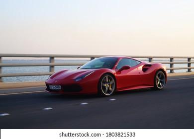 kuwait city, kuwait - july 15, 2020, exotic cars over jaber Bridge, supercars