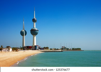 KUWAIT CITY, KUWAIT - JULY 19 - The main tower of Kuwait Towers is 187 m and carries two restaurants and a water tank. The second tower is 147 m and is a water tower. Picture taken on July 19, 2010.