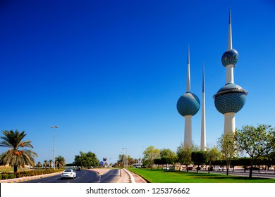 KUWAIT CITY, KUWAIT - JULY 19 - Kuwait Towers is a group of three slender towers in Kuwait City, standing on a promontory into the Persian Gulf. Picture taken on July 19, 2010.
