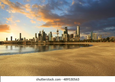 Kuwait City landscape view during beautiful golden sunset on summer time