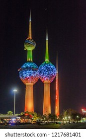 KUWAIT CITY, KUWAIT - MARCH 17, 2017: Night view of Kuwait Towers