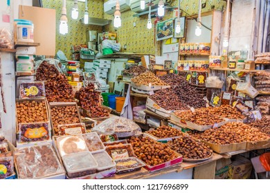 KUWAIT CITY, KUWAIT - MARCH 17, 2017: Date stall at the Souq (market) in Kuwait city.